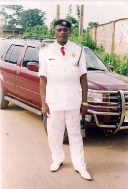 SOLF's Onitsha Director Apostle Bertram Agbanusi uniformed as Chaplain General in 'Operational Uniform' of United Nigeria Chaplaincy Association, West Africa.