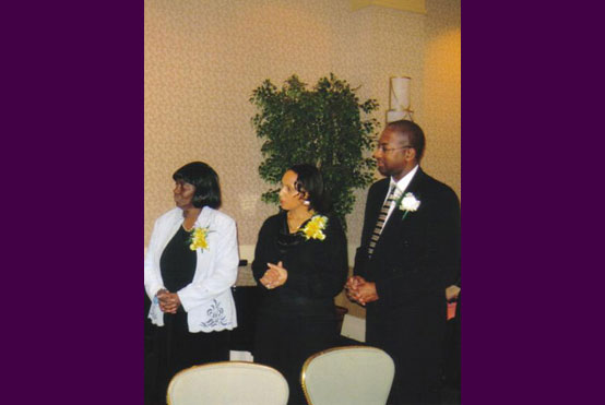 Names from left to right are: Evangelist Loretta Mayweather, Elder and Mrs. Jeff Chandler [standing in for SOLF PC Elders Drs. Mark and Mayra Wade].