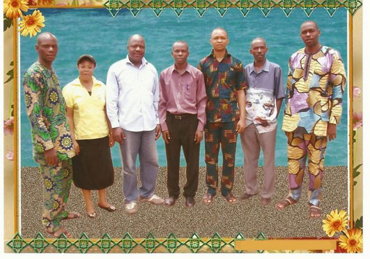 SOLM Onitsha Ministers. They are from left to right: Evangelist Collins Uchechi, Rev. Rose Precious Orji, Rev. Miracle Ezeh, Apostle David Nkemka, Evangelist Ikechukwu Anowai, Prophet Harry Henry Abadom and Evangelist Ernest Udemezue.